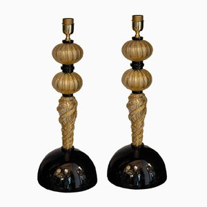 Glass and Gold Leaf Table Lamps by Alberto Donà, 1980s, Set of 2