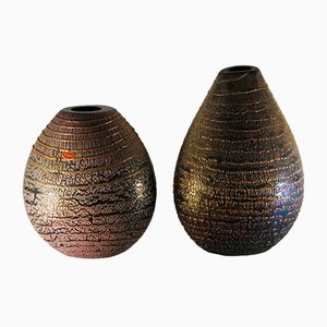 Crackled Black Iridescent Vases by Sergio Rossi, 1980s, Set of 2