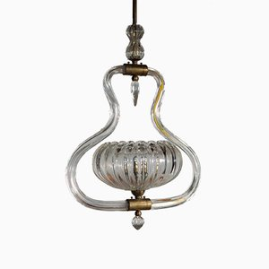 Art Deco Murano Glass and Brass Chandelier by Ercole Barovier, 1930s