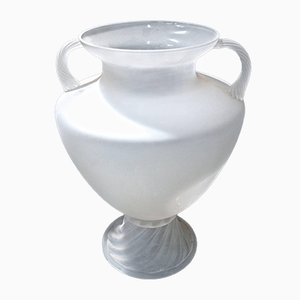 Large White Glass Urn by Vittorio Rigattieri for Seguso Vetri d'Arte, 1980s