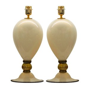 Ivory, Black, and Gold Glass Table Lamps by Alberto Donà, 2000s, Set of 2
