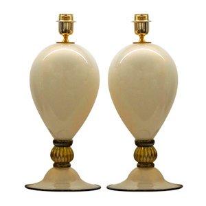 Tischlampen aus elfenbeinfarbenem, schwarzem & goldenem Glas von Alberto Donà, 2000er, 2er Set