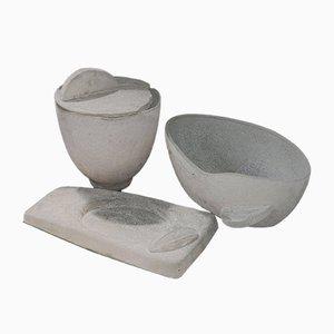 White Murano Glass Bowls by Eliakim for Seguso Vetri d'Arte, 1980s, Set of 3