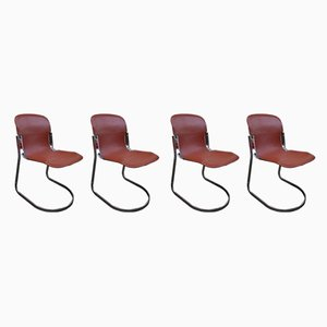 Cognac Leather Dining Chairs by Willy Rizzo for Cidue, 1970s, Set of 4