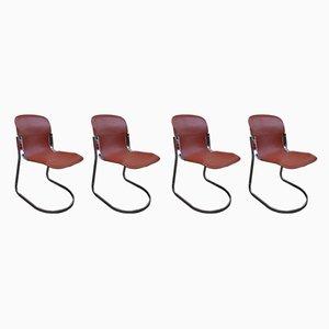 Esszimmerstühle aus cognacfarbenem Leder von Willy Rizzo für Cidue, 1970er, 4er Set
