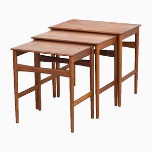 Tavolini ad incastro in teak di Hans J. Wegner per Andreas Tuck, anni '60, set di 3