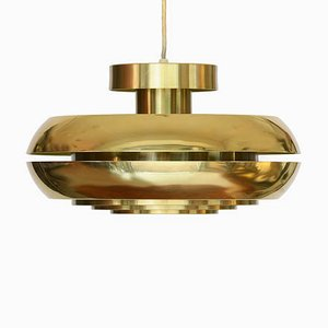 Golden Aluminum Pendant Lamp from T. Røste & co., 1960s