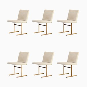 Skai and Metal Dining Chairs, 1970s, Set of 6
