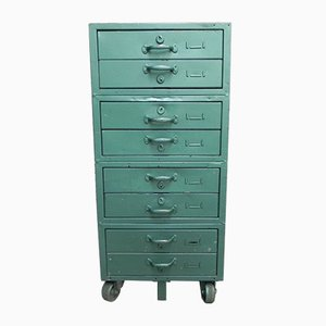 Mueble alemán de acero verde, años 60