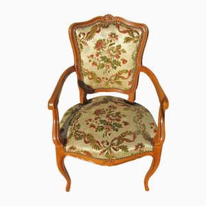 Beech-Stained Cherry Cabriolet Louis XV Armchairs, 1970s, Set of 2