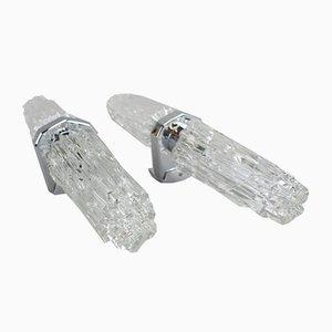Iceberg Wandlampen aus aus Glas & Chrom, 1970er, 2er Set