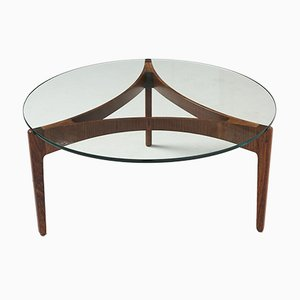 Round Glass and Rosewood Coffee Table by Sven Ellekaer for Christian Linneberg, 1960s