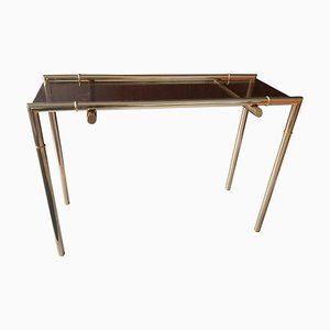Smoked Glass and Nickel Console Table, 1968