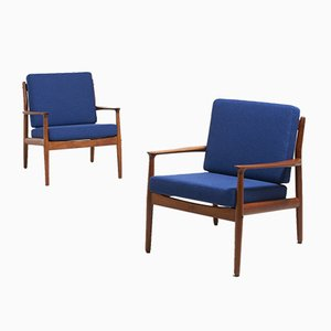 Teak Easy Chairs by Grete Jalk for Glostrup, 1960s, Set of 2