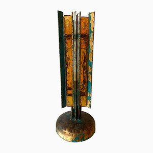 Italian Wrought Iron, Glass, and Gold Leaf Table Lamp from Biancardi & Jordan Arte, 1970s