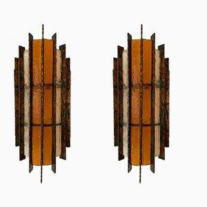 Applique in metallo, vetro e foglia d'oro di Biancardi & Jordan Arte, Italia, anni '70, set di 2
