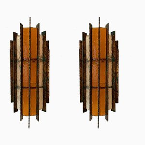 Italian Metal, Glass, and Gold Leaf Sconces from Biancardi & Jordan Arte, 1970s, Set of 2
