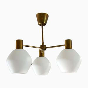 Scandinavian Opaline Glass and Bronze Ceiling Lamp, 1960s