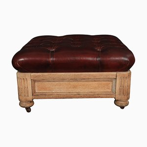 Antique Victorian Bleached Oak and Brown Footstool