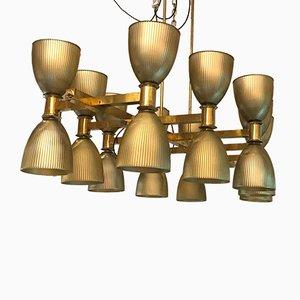 Lámpara de araña italiana de cristal de Murano y latón, años 80