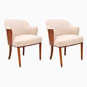Art Deco Walnut Armchairs, 1920s, Set of 2