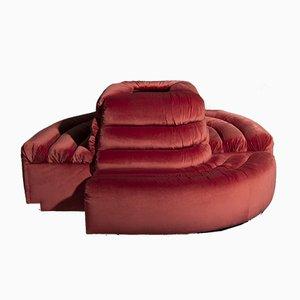 Sofás redondos de terciopelo rosa, años 80. Juego de 2