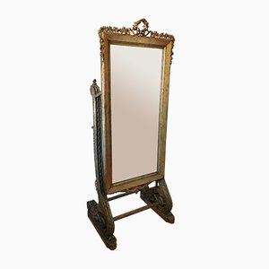 Antique Standing Carved Giltwood Dressing Mirror