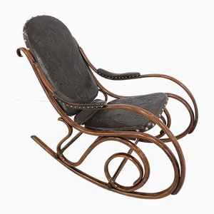Leather Rocking Chair from Gebrüder Thonet Vienna GmbH, 1899