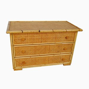 Bamboo, Cane, and Pinewood Dresser, 1970s