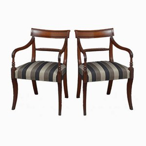 Antique Mahogany Elbow Armchairs, Set of 2