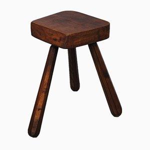 Dreibeiniger Hocker aus Holz, 1950er