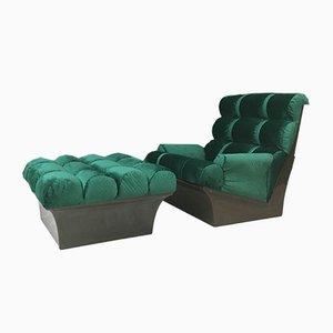 Conjunto de silla y reposapiés vintage de Lurashell, años 70