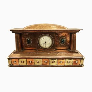 Antique Copper and Nickel Mantel Clock