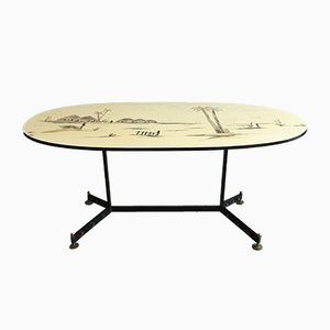 Mid-Century French Lacquered Metal and Brass Dining Table, 1960s