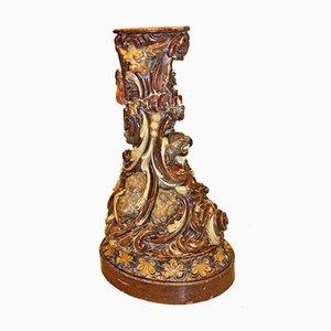 Antique Glazed Terracotta Flower Column