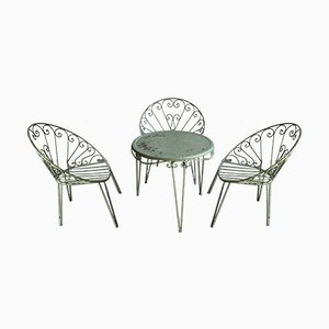 Juego de muebles de jardín italiano Mid-Century de hierro, años 60. Juego de 5