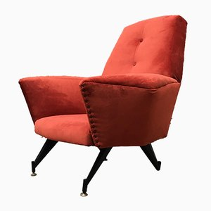 Italian Brick Red Velvet and Metal Rod Lounge Chair, 1950s