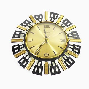 Mid-Century Brutalist Sunburst Wall Clock from Gigant