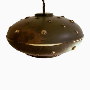 Brutalist Copper and Amber Glass Pendant Lamp, 1960s