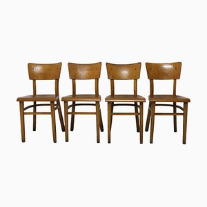 Beech Dining Chairs from Thonet, 1950s, Set of 4