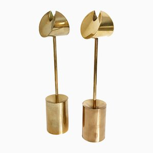 Brass Rhythms Candleholders by Pierre Forsell for Skultuna, 1960s, Set of 2