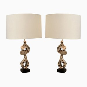 French Bronze Table Lamps by Michel Jaubert, 1970s, Set of 2