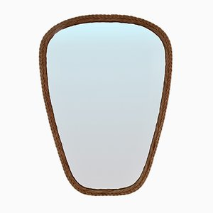 Large Mid-Century French Rattan Mirror, 1950s