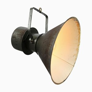 Mid-Century Industrial Green and Brown Metal Pendant Lamp