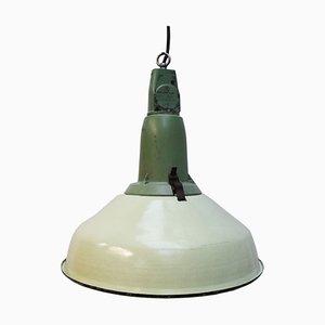 Vintage Industrial Green Enamel Cast Aluminum Pendant Lamp, 1950s