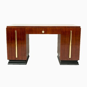 Vintage Art Deco Rosewood and Brass Desk, 1930s