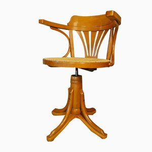 Rattan Swivel Desk Chair, 1970s