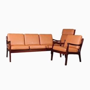 Senator Living Room Set by Ole Wanscher for Cado, 1970s, Set of 3