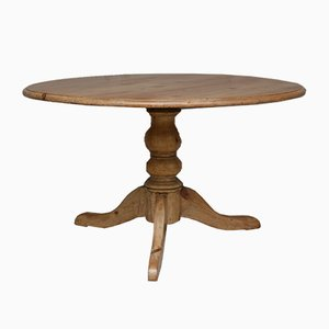 Round Soft Wood Dining Table, 1920s