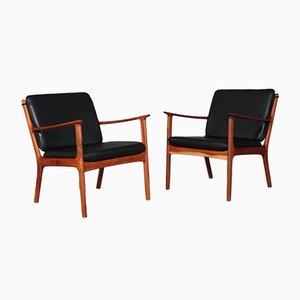 PJ112 Sessel mit schwarzem Anilinlederbezug von Ole Wanscher für Poul Jeppesens Møbelfabrik, 1960er